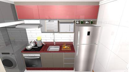 Cozinha Planejada Vermelha - Visão Frontal