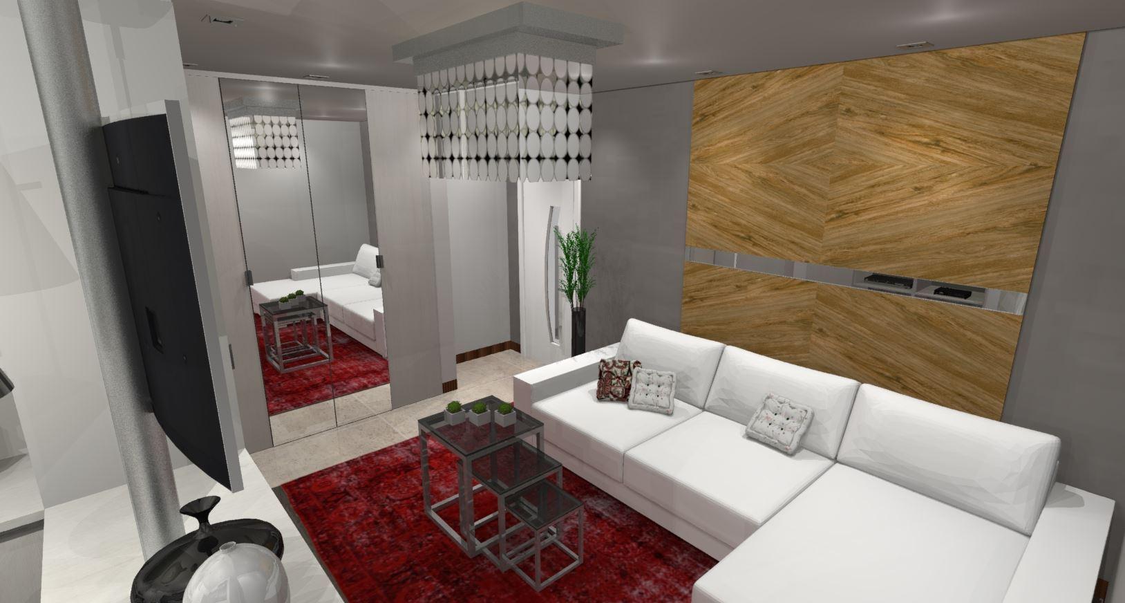 Sala para Apartamento Studio - Visão Lateral