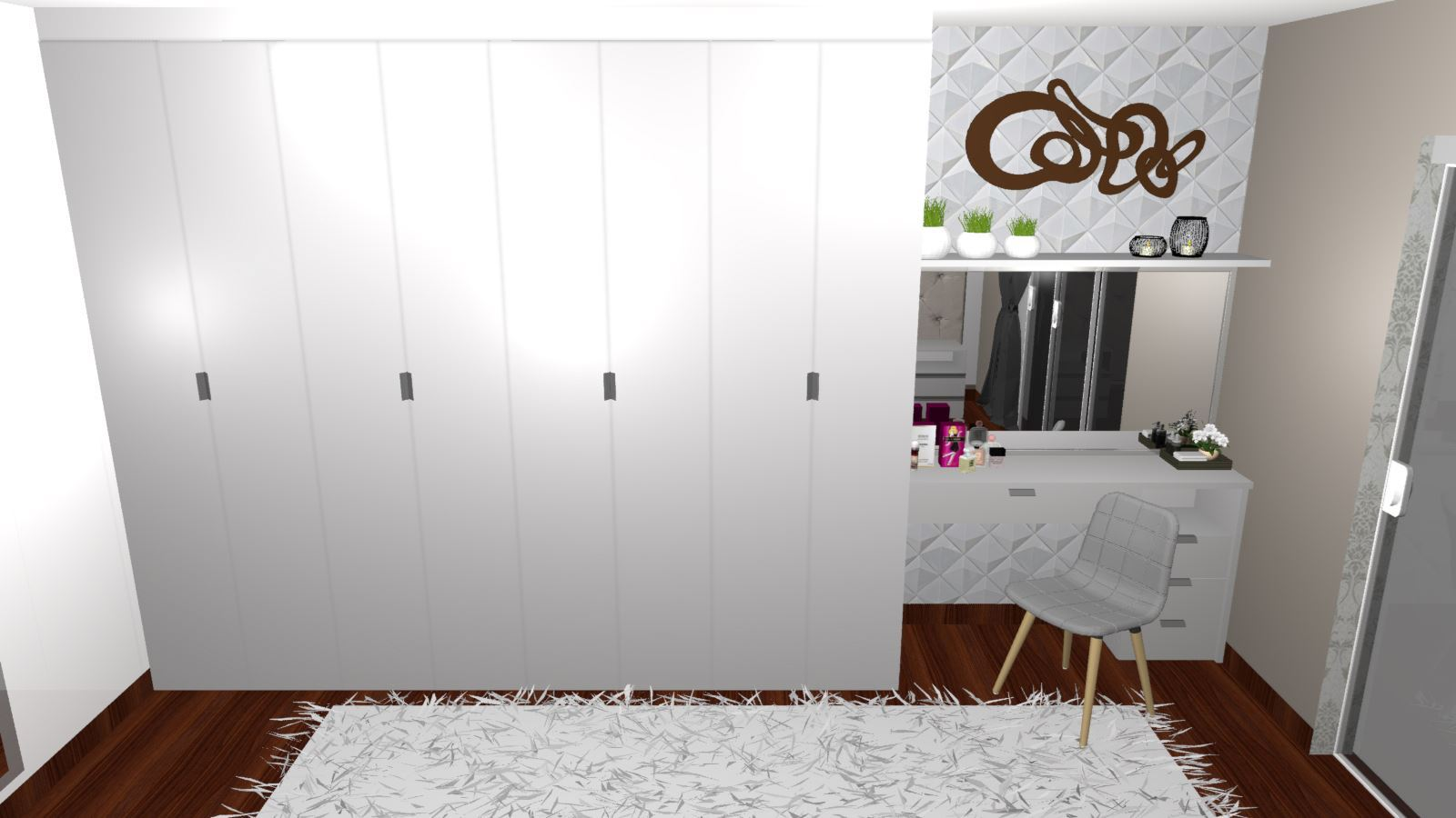 Quarto de Casal Planejado para Apartamento - Visão Frontal Guarda-roupa