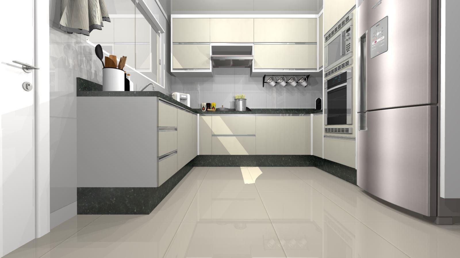 Cozinha Planejada em U - Visão Frontal