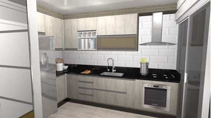 Cozinha Planejada Apartamento- Visão Lateral