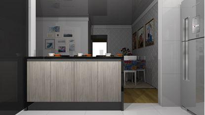 Cozinha Planejada Pequena E Simples - Visão Frontal Divisor de Ambientes