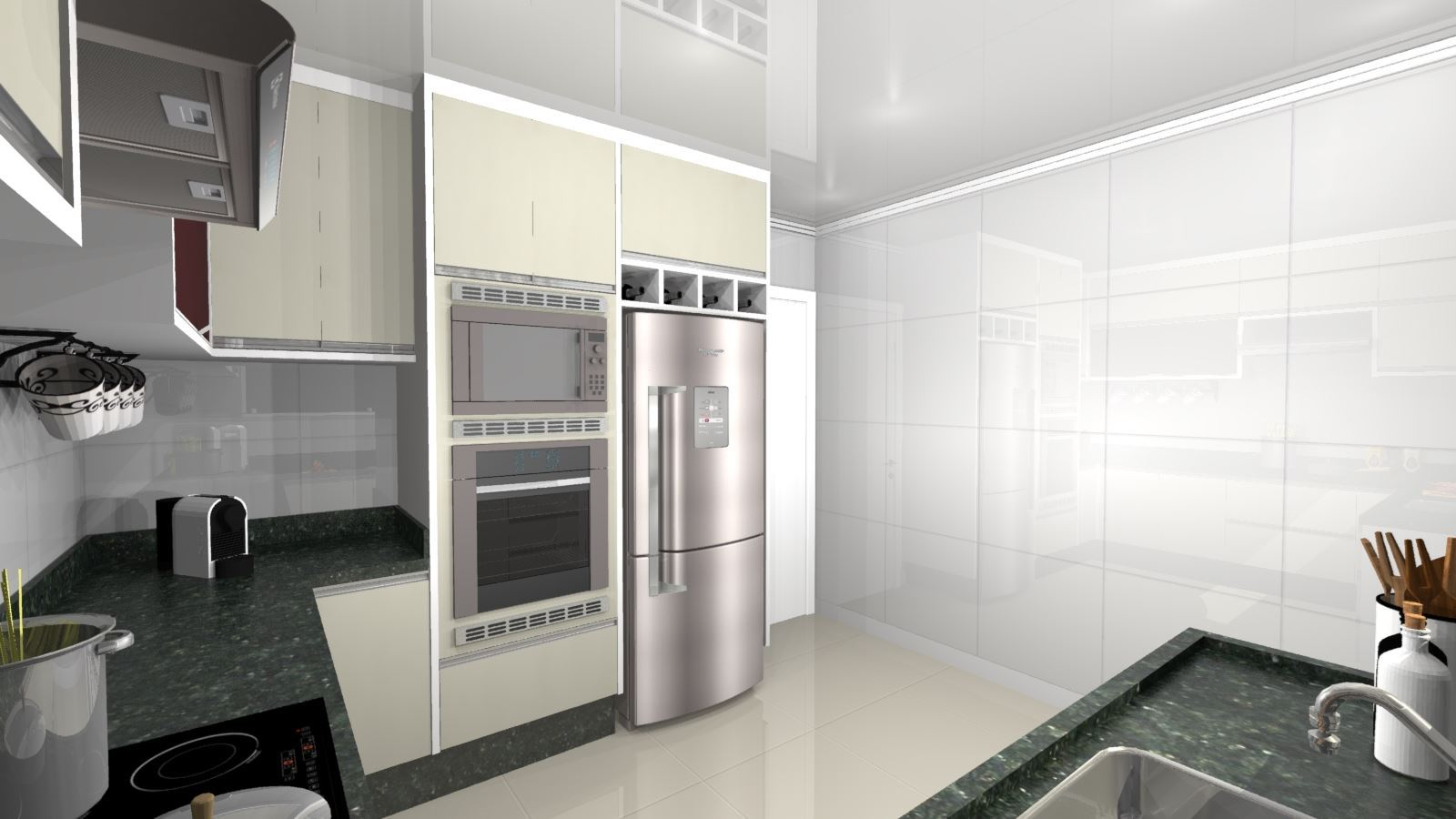Cozinha Planejada Pequena Apartamento- Visão Lateral