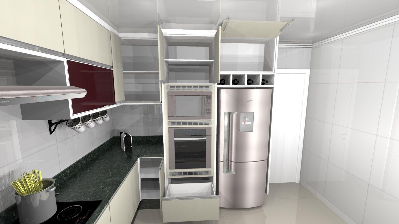 Cozinha Planejada Pequena E Moderna -Visão Lateral