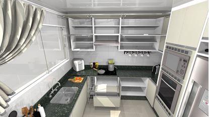 Cozinha Planejada em Mdf Pequena -Visão Interna Armários Inferiores
