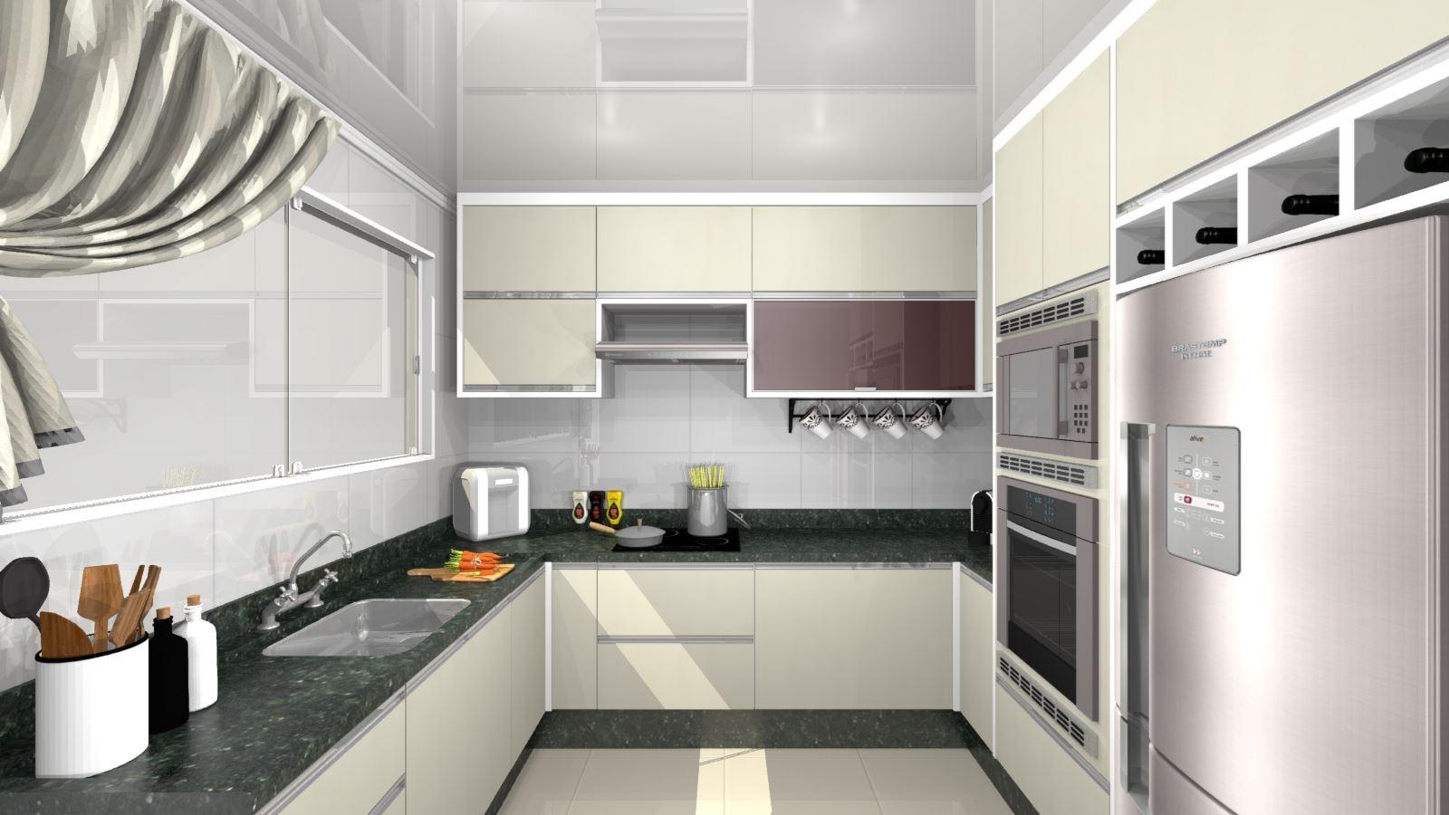 Cozinha Planejada Projeto -Visão superior Frontal