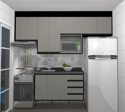 Cozinha Planejada Reta - Visão Frontal