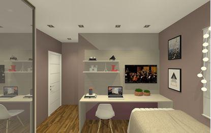 Painel para TV com espaço integrado para estudos.
