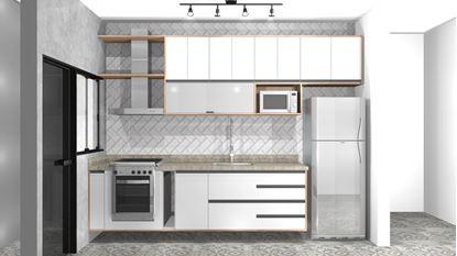 Cozinha planejada, com armário superior e inferior