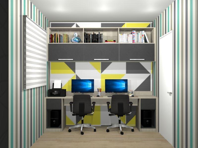 Bancada para área de trabalho com armários e nichos superiores