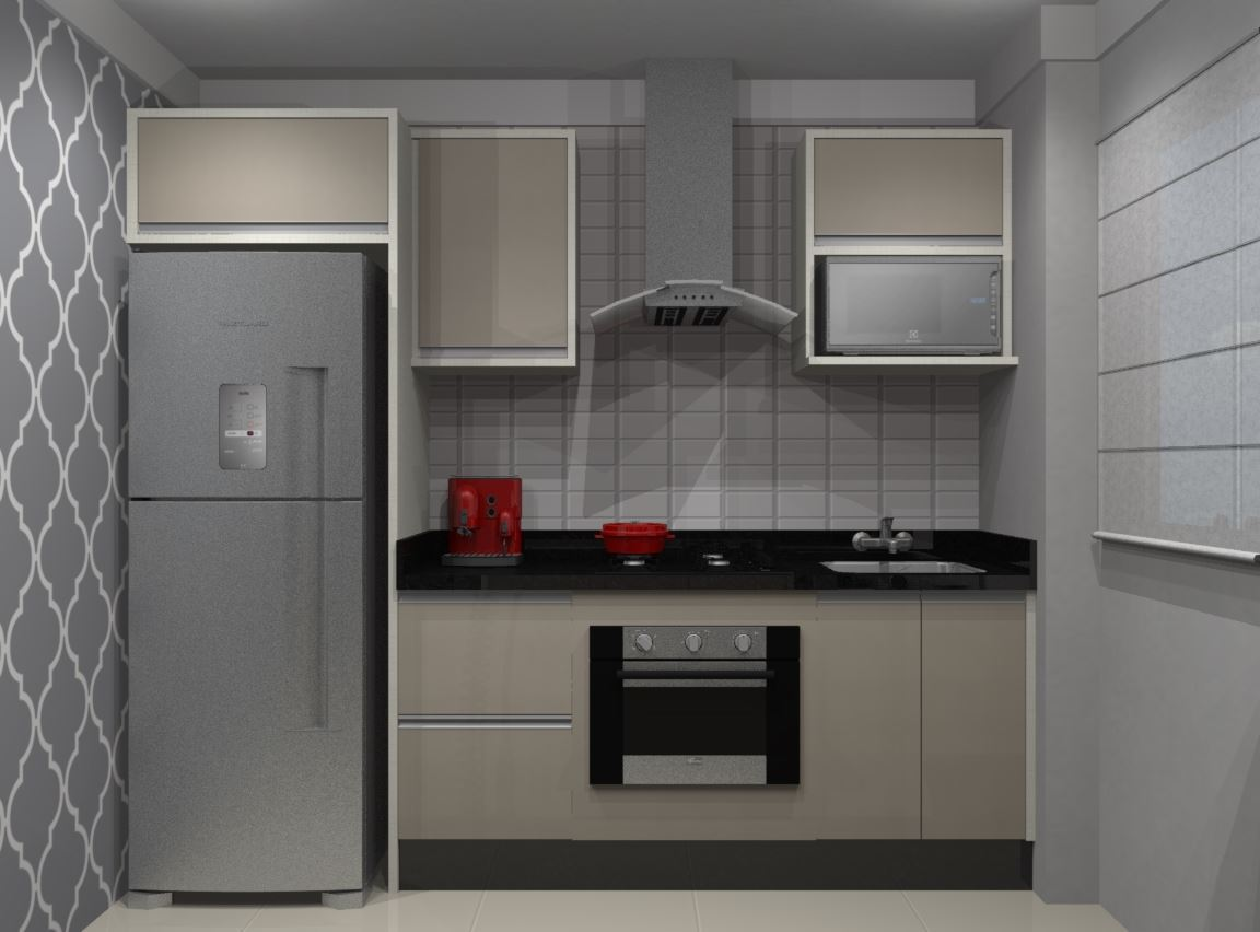 Vista frontal parede refrigerador