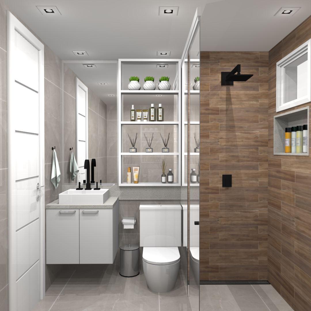 Banheiro Planejado Pequeno Branco