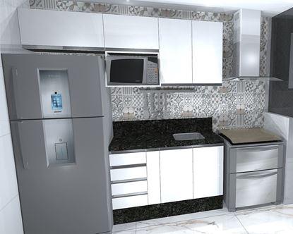 Cozinha Reta Planejada ( Vista Frente )