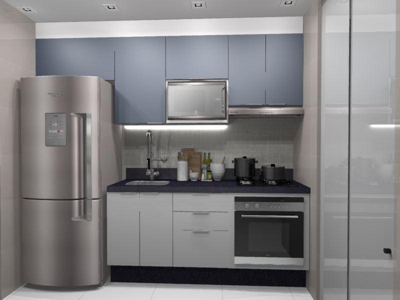 Cozinha Planejada para apartamento( azul e branco