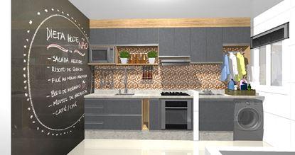 Vista cozinha - Lado  pia e Área de serviço