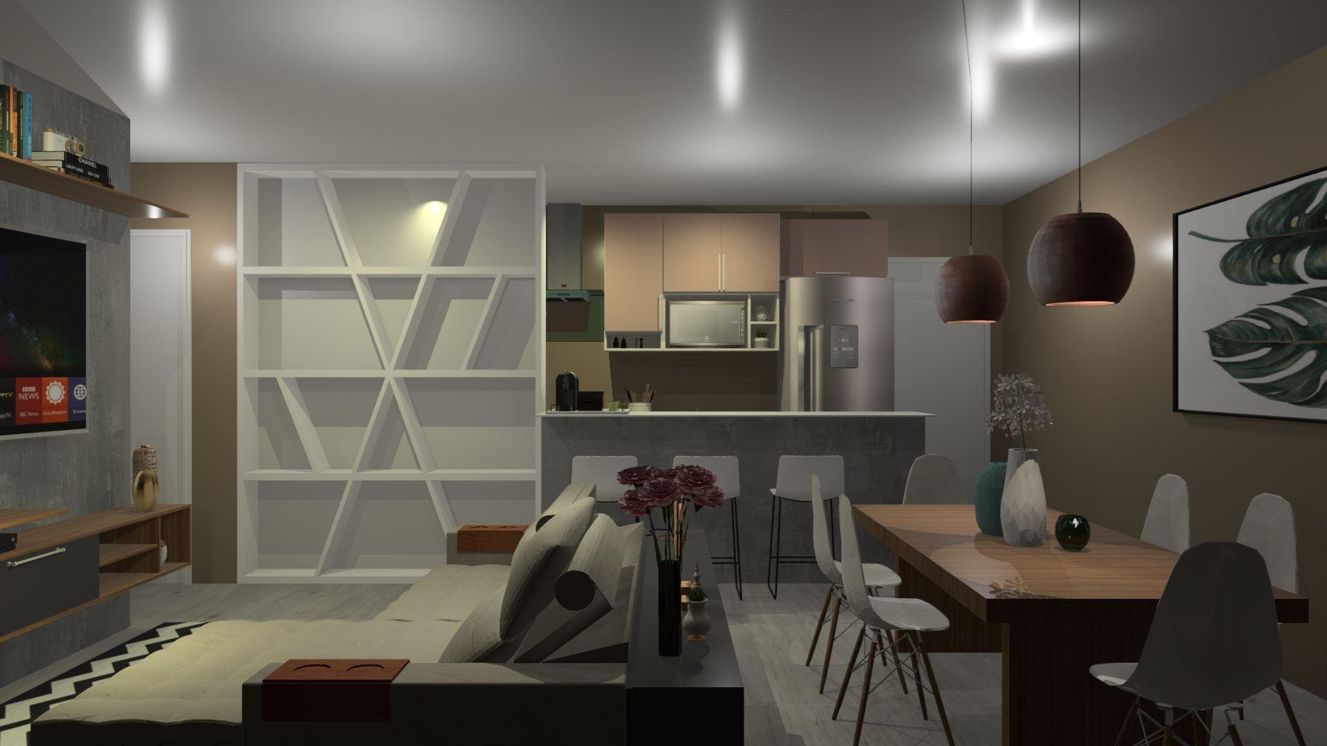 Cozinha planejada com Sala de jantar/Estar e Área de Serviço!